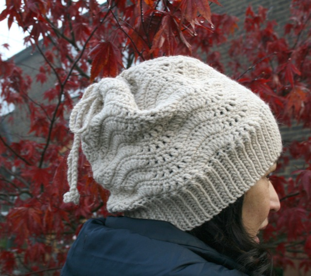Slouchy lace hat and cowl 160 5