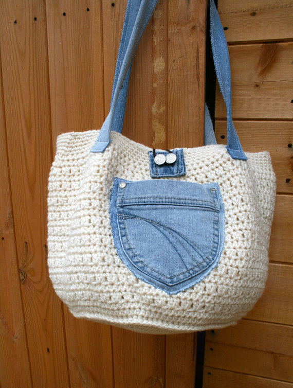 Denim upcycle crochet bag 101