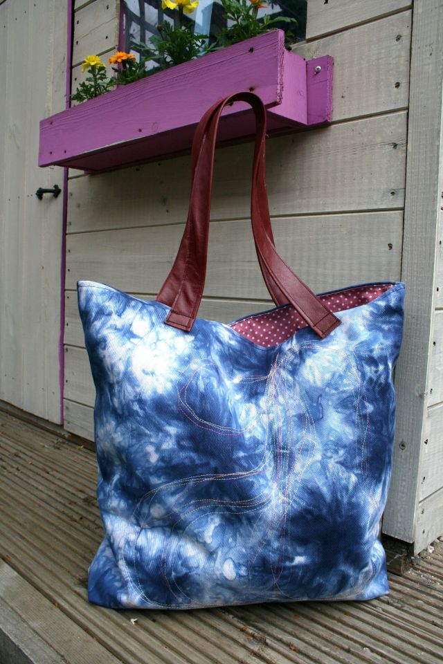 LuzPatterns.com denim bag with leather handles sewing tutorial 3
