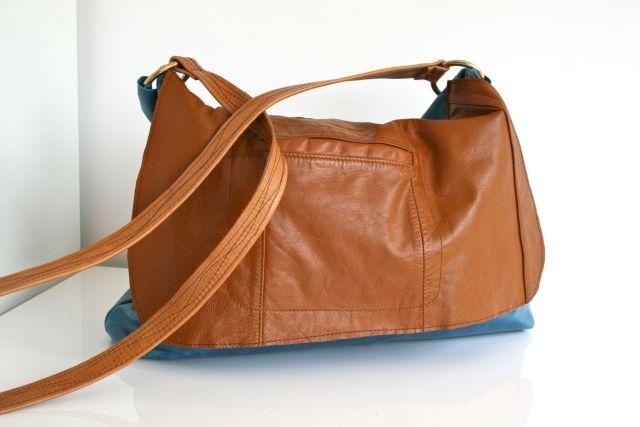 LuzPatterns.com vintage leather reclaimed messenger bag 1