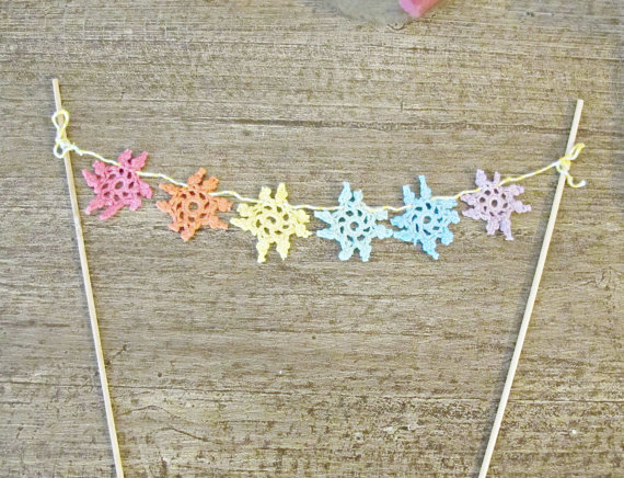 crochet cake toppers bunting