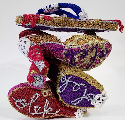 LuzPatterns.com crocheted high heel shoes by Olek
