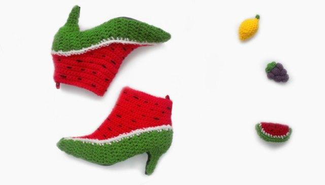 LuzPatterns.com watermelon shoes by FruitPunchByMayanile