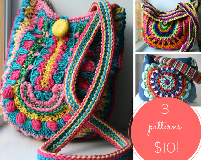 LuzPatterns.com 3 crochet boho bags patterns for $10