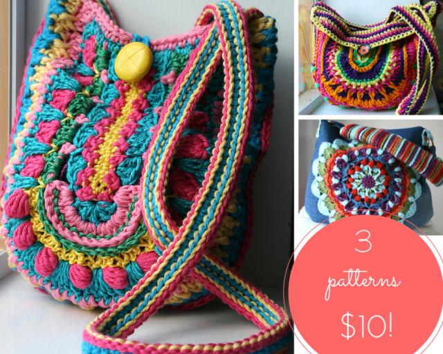 LuzPatterns.com 3 crochet boho bags patterns for $10
